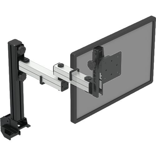 Suporte p/ 1 monitor (1 a 10 kg) com ajuste de altura em passos de 15 mm com braços articulados para movimentação fácil