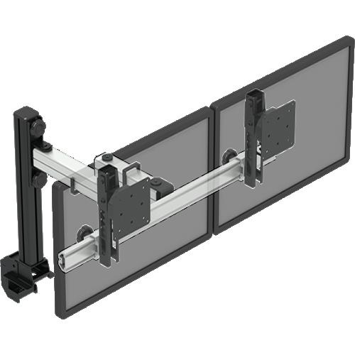 Suporte p/ 2 monitores (2 x 1 a 15 kg) com ajuste de altura em passos de 15 mm com braços articulados para movimentação fácil