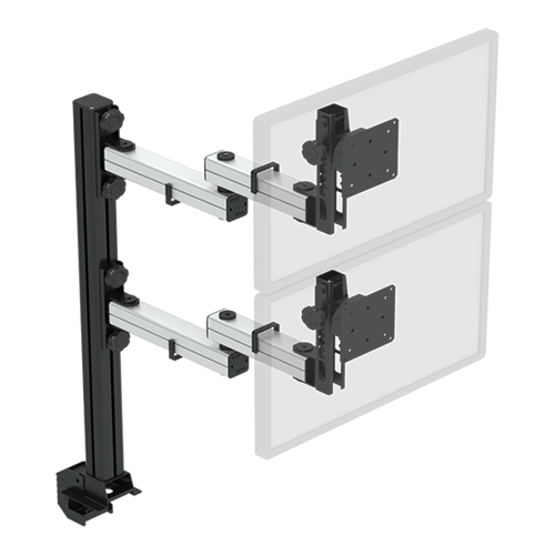 Suporte p/ 2 monitores (2 x 1 a 10 kg) com ajuste de altura em passos de 15 mm com braços articulados para movimentação fácil