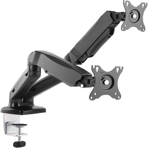 Suporte p/ 2 monitores (2 a 6,5 kg) com ajuste de altura continuo através de mola a gás com braços articulados para movimentação fácil