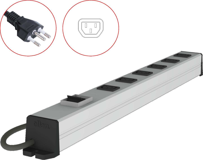PDU com disjuntor para racks (padrão IEC C13, 10A)