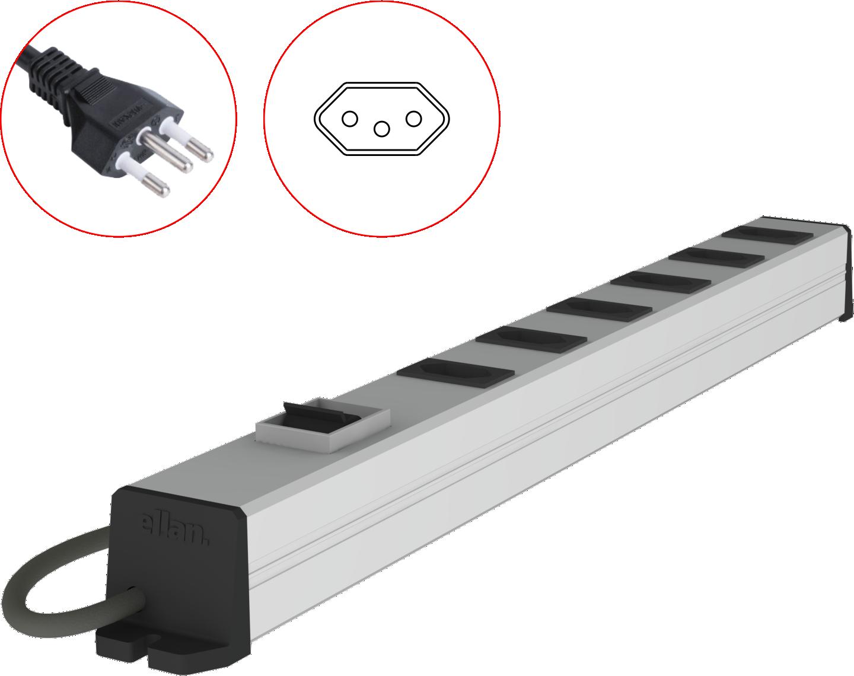 PDU com disjuntor para racks (padrão NBR 14136, 10A)
