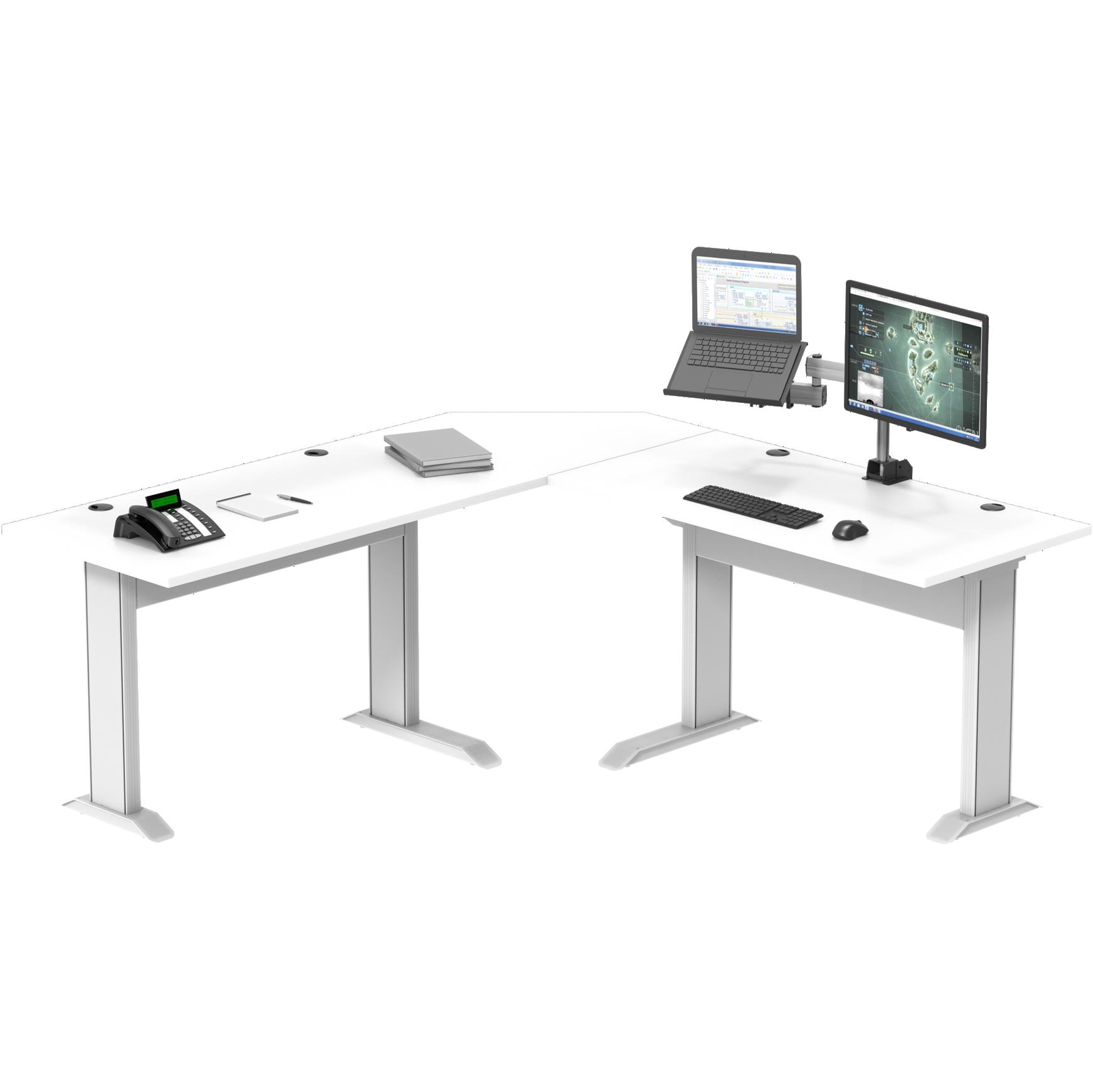 Mesa com Altura Fixa em L Esquerda