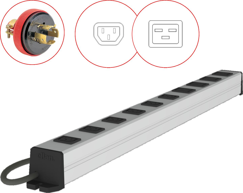 PDU Simples Padrão IEC C13 10A, IEC C19 16A e Plugue com trava 30A